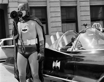 Adam West , Batman with Bat Blowhorn , PHOTOGRAPH ..... star of the Batman Tv Show from the 1960 's  , the Batman Television Series