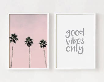 Digital prints - Printable tropical art Wall art quotes set Palm trees photography poster Good vibes only 8x10, A3 INSTANT DOWNLOAD