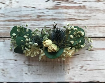 Eucalyptus Floral Comb.  Dried Flowers, Made in any colour, Wedding Hair Piece, Bride, Bridesmaid, Flowergirl, Flower Clips Accessory