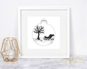 Winter Landscape Ornament, Wall Art - Original Ink Drawing