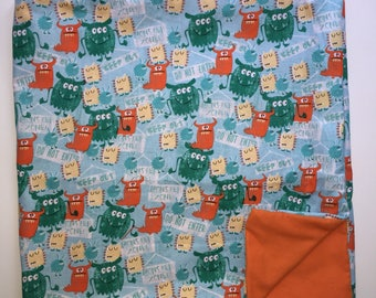 Sensory WEIGHTED BLANKET Funny MONSTERS 5 lbs.Handmade New Autism