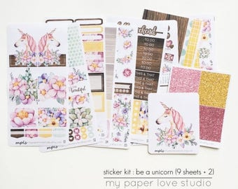 ON SALE Planner Sticker Kit (9 sheets + 2) : Be A Unicorn / Weekly / Erin Condren Vertical / A La Carte Option
