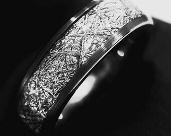 Meteorite Ring, Meteorite Tungsten Wedding Band, Men Women Engagement Rings, His and Her Promise Rings, Tungsten Rings, Brushed Ring - 6mm