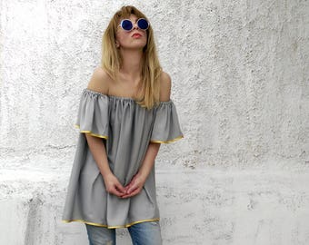 Off the shoulder top-bardot top-loose fit top-summer top-summer blouse-off the shoulder shirt-bardot blouse-summer fashion-pastel top-