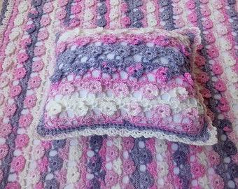Crochet blanket. Crochet pillow. Knitted set in a carriage. Plaid for girls, blanket newborns, flower pillow, babyshower gift,