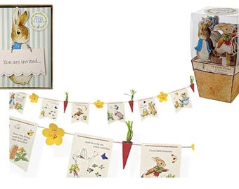 Meri Meri Peter Rabbit Party Tableware. ~ Invitations - Garland - Picks