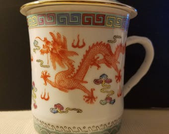 Vintage Double Dragon Ceramic Drink Mug