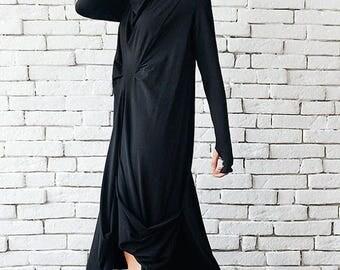 ON SALE Oversize Black Loose Casual Tunic / Thumb Hole Sleeve Dress / Long Sleeve Black Maxi Dress / Comfortable Tunic Top by METAMORPHOZA