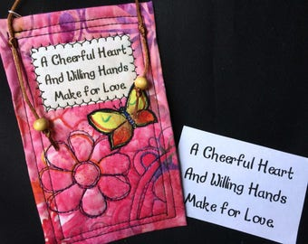 A Cheerful heart quilted quote, inspirational fabric art, small giftable, Inspirational quote, Mini Art Quilt, Inspirational Quote #49