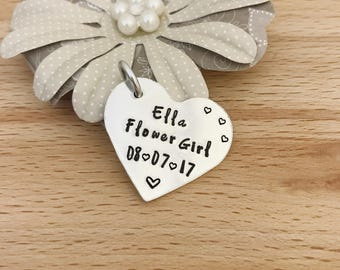 Flower Girl Charm, Flower Girl Flower Bouquet Charm, Personalised flowergirl gift, personalized flower girl charm, hand stamped, UK