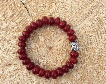 Red lampwork glass Buddha bracelet, handcrafted