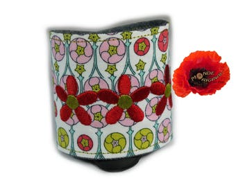 Red rose Bangle in Liberty fabric and denim