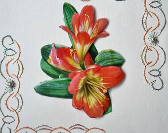 Orange flower bouquet - 3 D made handmade card