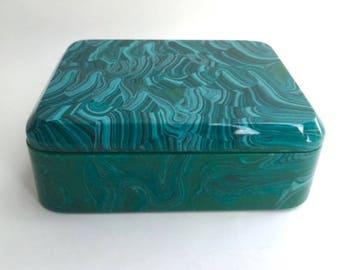 Fantastic Faux Malachite Covered Box