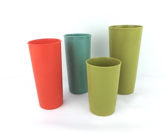 Lot of 4 70s Tupperware Tumblers, Plastic Cups, Orange, Teal, Avocado Green