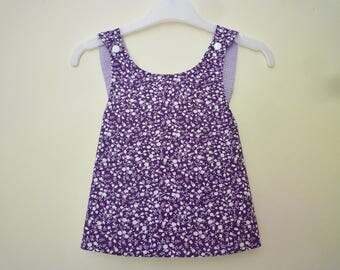 Tunic/baby dress with straps crossed in back, reversible, purple, flowers and Plaid