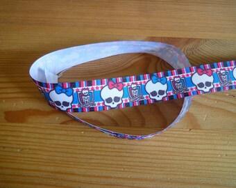 "Ribbon grosgrain 2 m, width 22mm skulls coupon ""girls"""