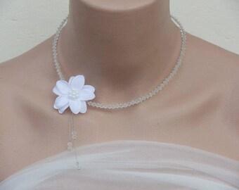 perels wire hypoallergenic wedding crystal flower necklace