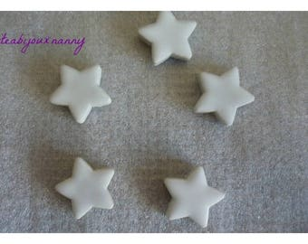 Set of 5 stars in white mosaic for beautiful creations.