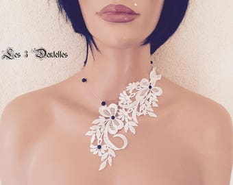 Ivory wedding lace necklace * Black Pearl *.