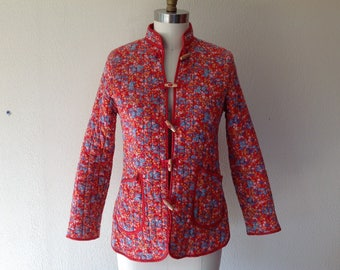 1970s Red calico quilted jacket