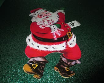 Vintage Carrington Santa Die Cut, Santa with candy canes, 1960's Christmas, pristine, Christmas Decor, NOS