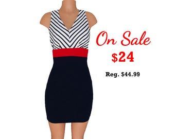 Red + Black Stripe Colorblock Dress
