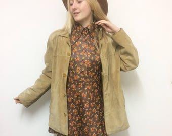 Vintage Suede Jacket, Leather Jacket, Tan Suede, Oversized Jacket, 70s Boho, 90s Suede Jacket, size S-M