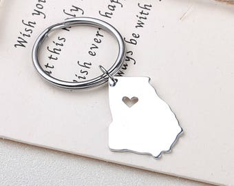 I heart Georgia keychain - Georgia Pendant - Map Jewelry - State Charm - Map keychain