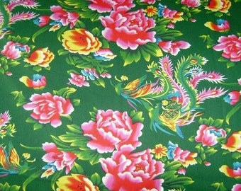 10 X fabric Peony Chinese traditional cotton Green