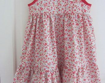 cotton pink flower girl dress
