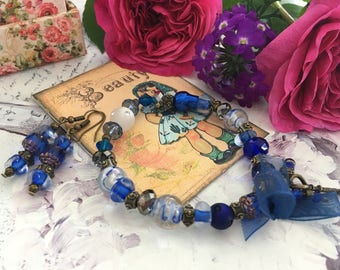 romantic set celebrating mothers blue glass beads
