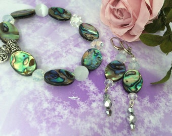 romantic set of Abalone and cat eye beads