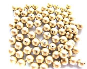 20 ROUND 5 MM MATTE PALE GOLD BEADS