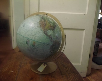 "1950'S ""REPLOGE"" Land and Sea World Globe w/ Raised Relief"
