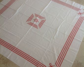 Vintage Table Cloth with Nautical Pattern
