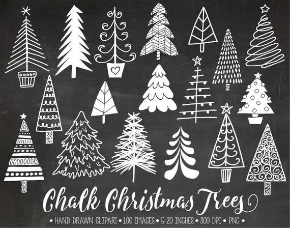Chalkboard Christmas Tree Clip Art. Hand Drawn Chalk Christmas