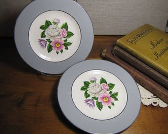 Set of Two (2) Homer Laughlin - Cavalier - Eggshell - Bread Plates - Gray Rim - Floral Pattern - Platinum Accent