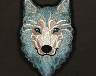 Embroidered Wolf Iron on Patch, Winter Wolf Patch, Wolf Patch, Clothing Patch, Jeans Patch, Jacket Path, Wolf Patch, Jean Jacket Patch