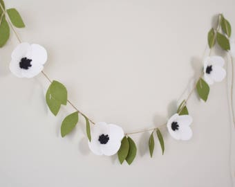 Anemone felt flower garland - hanging wedding ceremony backdrop - floral garland