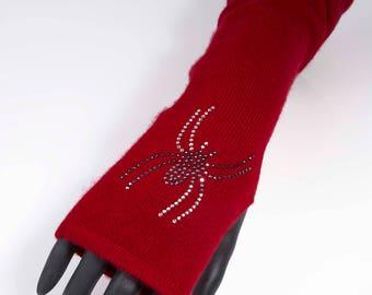 Red cashmere MITTENS spider, Swarovski rhinestones, red mittens, hot mitts, gift french woman, mitten Valentine's day, cashmere