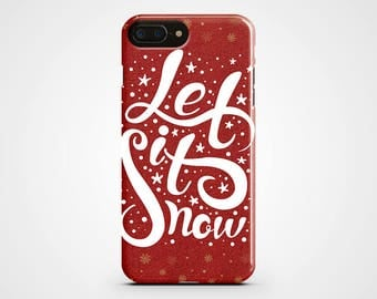 Christmas iPhone 8 Case Let It Snow iPhone X Case iPhone 7 Clear iPhone 8 Plus Red iPhone 6 Plus Case Xmas iPhone 5 Case iPhone SE Galaxy S8
