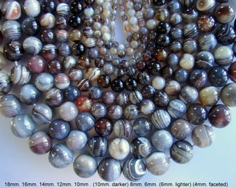 SALE. Natural Botswana Agate Beads, Round, lighter, darker, faceted, 18mm, 16mm, 14mm, 12mm, 10mm, 8mm, 6mm, 4mm,  Hole 1mm,  Length: 15.5""
