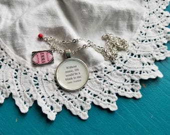 Jane Austen quote necklace, Without music life would be a blank to me, Music quote, Emma, Book Quote, Book Nook, MarjorieMae