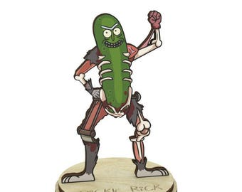 Pickle Rick | Rick and Morty Wood Figurine on a stand charm