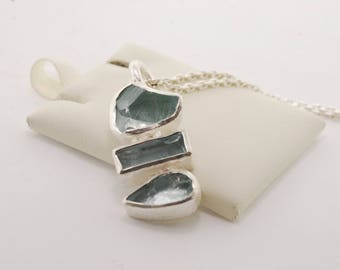 "Raw Aquamarine Pendant on 18"" Sterling Silver Chain"