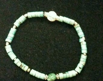Ladies Turquoise Stretch Bracelet with Sterling Silver Beads