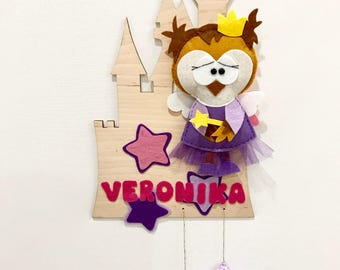 OWL Princess name banner / baby name banner / nursery decor owl and castle