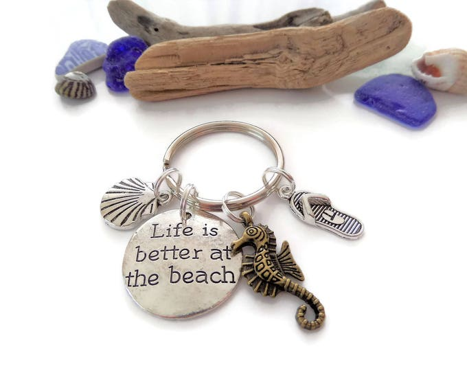 Life's better at the beach gift, beach keyring, sea keyring, sea keepsake, sea jewellery, sea gift, beach gift, seahorse gift, flip flops