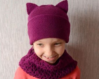 Cat Hat and Snood set, Cat Cowl, Animal Hat, Hooded Scarf, Purple Crochet Cat Hat, Chunky Crochet Hat, Animal Scarf